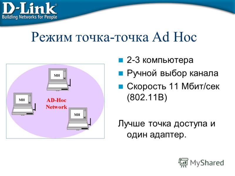 Режим точка-точка Ad Hoc 2-3 компьютера Ручной выбор канала Скорость 11 Мбит/сек (802.11B) Лучше точка доступа и один адаптер.