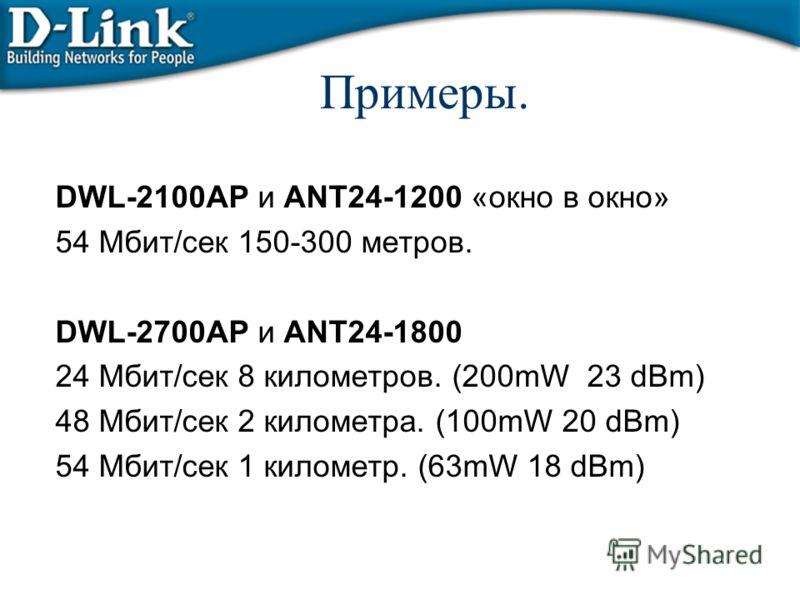 Примеры. DWL-2100AP и ANT24-1200 «окно в окно» 54 Мбит/сек 150-300 метров. DWL-2700AP и ANT24-1800 24 Мбит/сек 8 километров. (200mW 23 dBm) 48 Мбит/сек 2 километра. (100mW 20 dBm) 54 Мбит/сек 1 километр. (63mW 18 dBm)