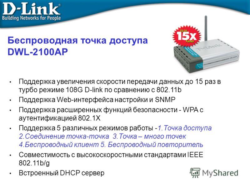 Беcпроводная точка доступа DWL-2100AP Поддержка увеличения скорости передачи данных до 15 раз в турбо режиме 108G D-link по сравнению с 802.11b Поддержка Web-интерфейса настройки и SNMP Поддержка расширенных функций безопасности - WPA с аутентификаци