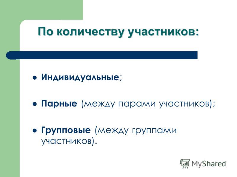 По количеству участников: Индивидуальные ; Парные (между парами участников); Групповые (между группами участников).