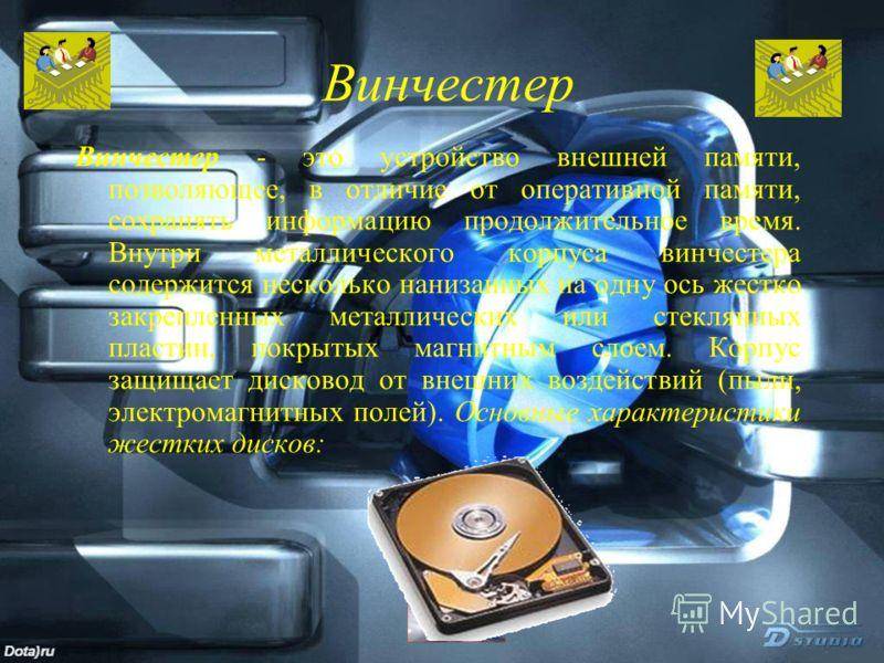 Винчестер Винчестер - это устройство внешней памяти, позволяющее, в отличие от оперативной памяти, сохранять информацию продолжительное время. Внутри металлического корпуса винчестера содержится несколько нанизанных на одну ось жестко закрепленных ме