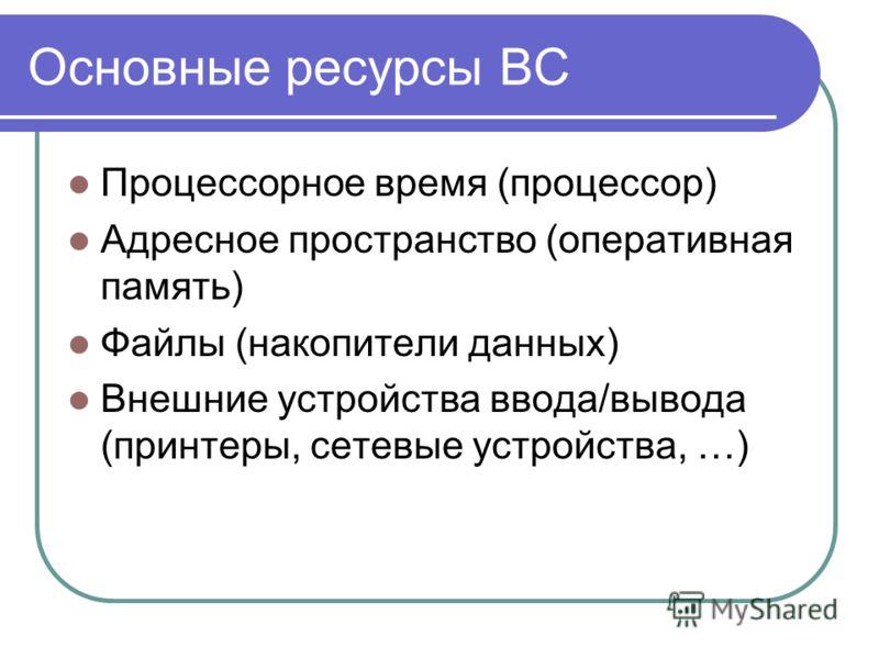 Основные ресурсы ВС Процессорное время (процессор) Адресное пространство (оперативная память) Файлы (накопители данных) Внешние устройства ввода/вывода (принтеры, сетевые устройства, …)
