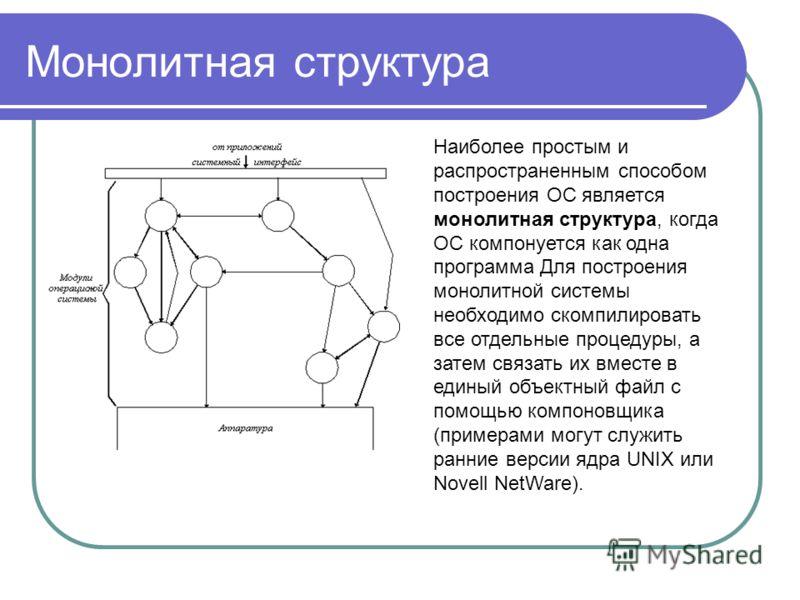 Монолитная структура Наиболее простым и распространенным способом построения ОС является монолитная структура, когда ОС компонуется как одна программа Для построения монолитной системы необходимо скомпилировать все отдельные процедуры, а затем связат