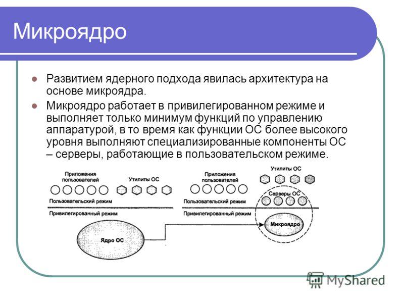 Микроядро Развитием ядерного подхода явилась архитектура на основе микроядра. Микроядро работает в привилегированном режиме и выполняет только минимум функций по управлению аппаратурой, в то время как функции ОС более высокого уровня выполняют специа