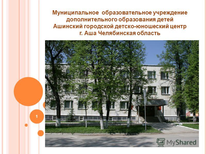 1 Муниципальное образовательное учреждение дополнительного образования детей Ашинский городской детско-юношеский центр г. Аша Челябинская область 2010 год