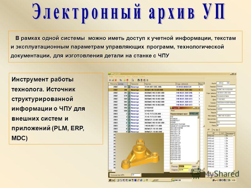 В рамках одной системы можно иметь доступ к учетной информации, текстам и эксплуатационным параметрам управляющих программ, технологической документации, для изготовления детали на станке с ЧПУ В рамках одной системы можно иметь доступ к учетной инфо