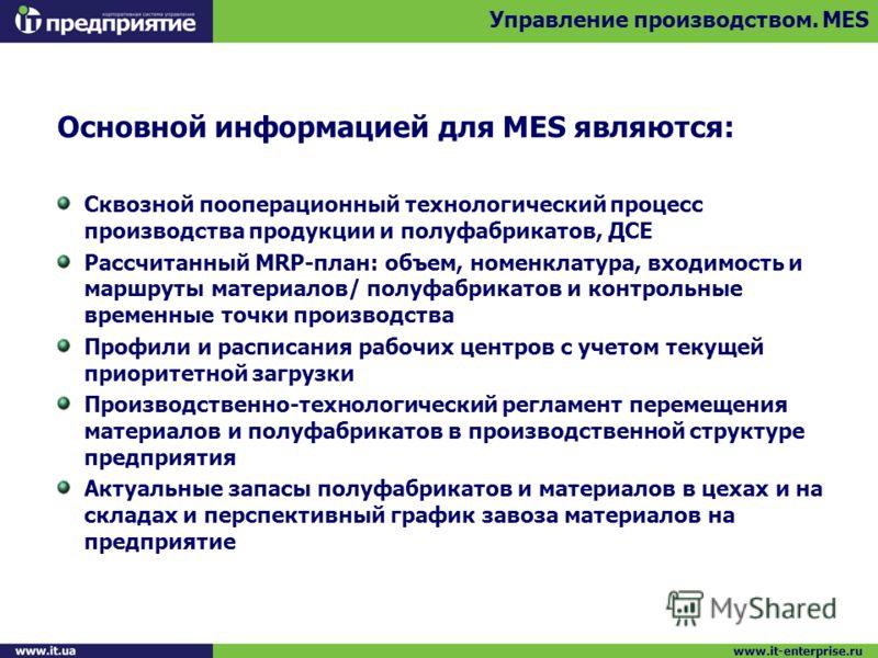 Основной информацией для MES являются: Сквозной пооперационный технологический процесс производства продукции и полуфабрикатов, ДСЕ Рассчитанный MRP-план: объем, номенклатура, входимость и маршруты материалов/ полуфабрикатов и контрольные временные т