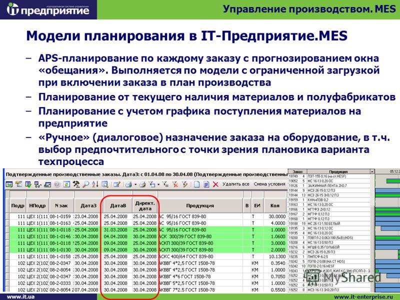 Модели планирования в IT-Предприятие.MES –APS-планирование по каждому заказу с прогнозированием окна «обещания». Выполняется по модели с ограниченной загрузкой при включении заказа в план производства –Планирование от текущего наличия материалов и по