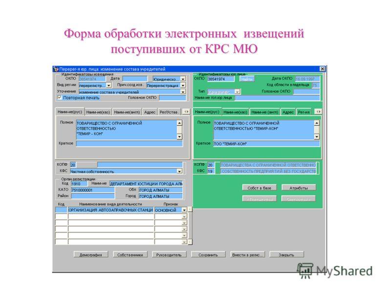 Форма обработки электронных извещений поступивших от КРС МЮ
