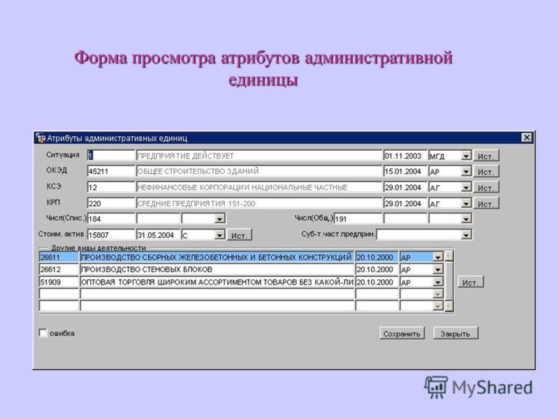 Форма просмотра атрибутов административной единицы