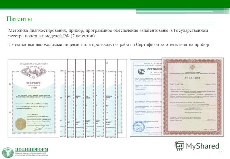 10 Методика диагностирования, прибор, программное обеспечение запатентованы в Государственном реестре полезных моделей РФ (7 патентов). Имеются все необходимые лицензии для производства работ и Сертификат соответствия на прибор. Патенты