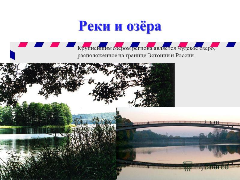 Реки и озёра Крупнейшим озером региона является Чудское озеро, расположенное на границе Эстонии и России.