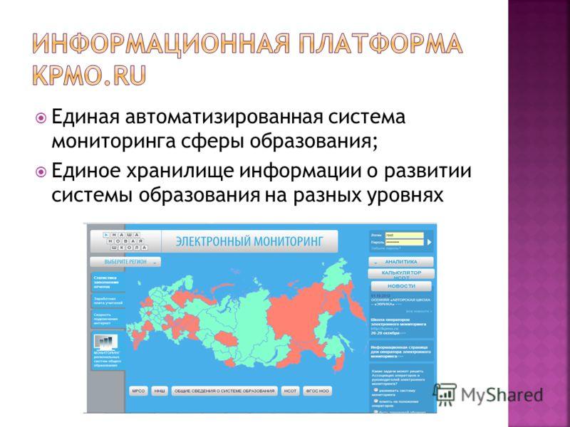Единая автоматизированная система мониторинга сферы образования; Единое хранилище информации о развитии системы образования на разных уровнях