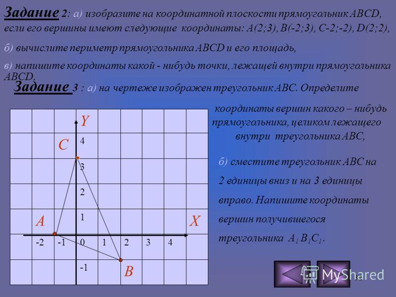 31 САМОСТОЯТЕЛЬНАЯ РАБОТА. Задание1 : а) Определите координаты точек D и E, изображенных на чертеже, б) найдите координаты середины отрезка DE, в) сместите точку D на 3 единицы вниз. Найдите координаты получившейся точки.