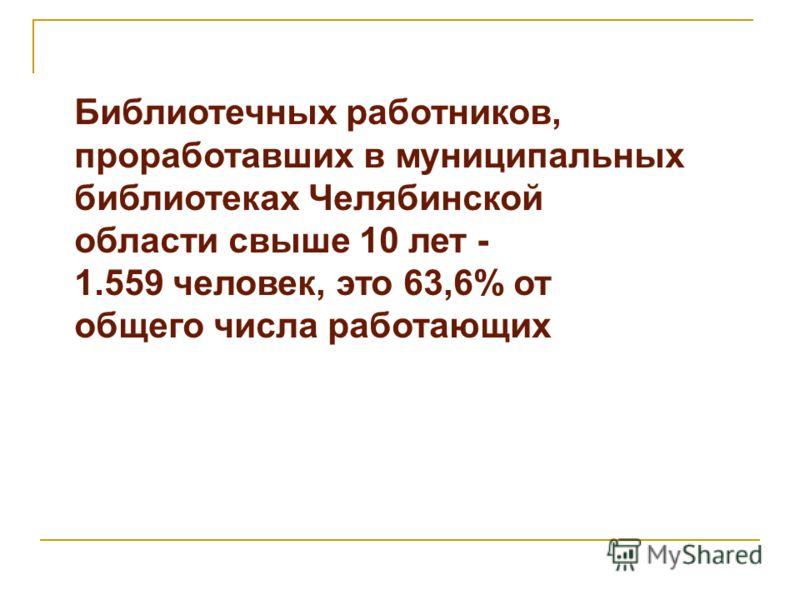Библиотечных работников, проработавших в муниципальных библиотеках Челябинской области свыше 10 лет - 1.559 человек, это 63,6% от общего числа работающих