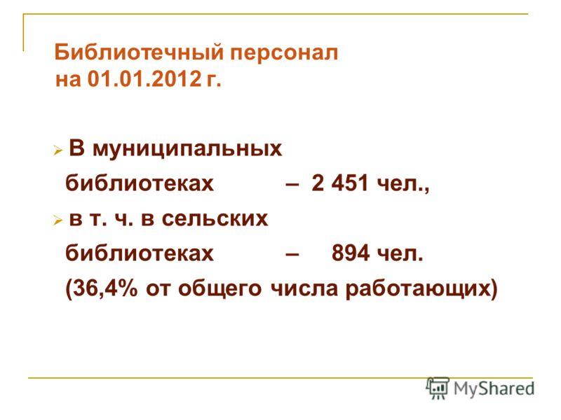 Библиотечный персонал на 01.01.2012 г. В муниципальных библиотеках – 2 451 чел., в т. ч. в сельских библиотеках – 894 чел. (36,4% от общего числа работающих)