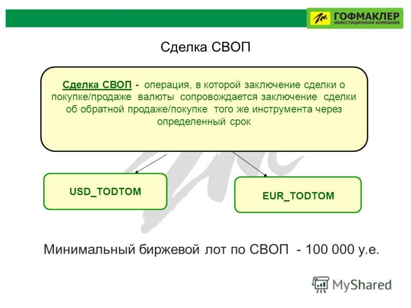 Сделка СВОП Минимальный биржевой лот по СВОП - 100 000 у.е. Сделка СВОП - операция, в которой заключение сделки о покупке/продаже валюты сопровождается заключение сделки об обратной продаже/покупке того же инструмента через определенный срок USD_TODT
