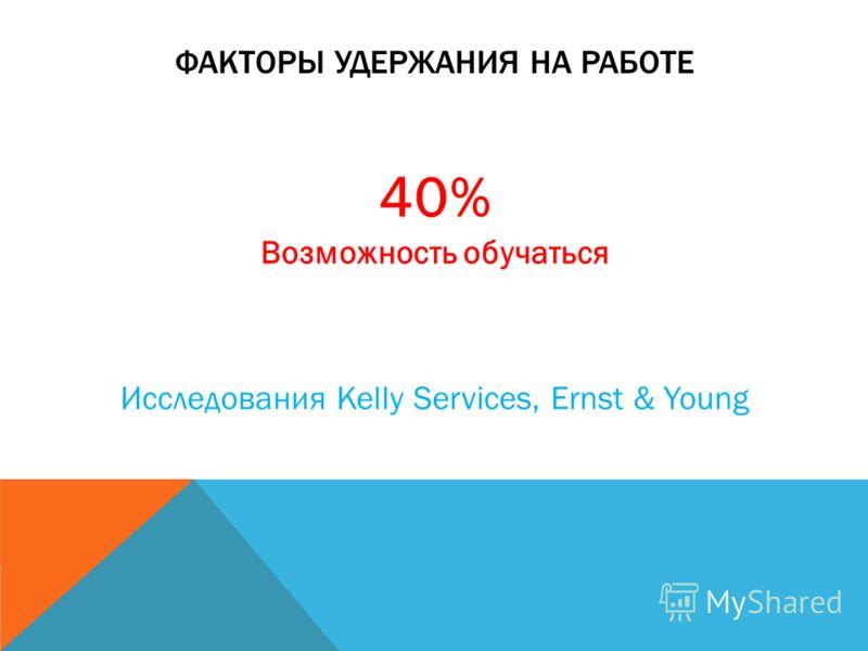 ФАКТОРЫ УДЕРЖАНИЯ НА РАБОТЕ 40% Возможность обучаться Исследования Kelly Services, Ernst & Young