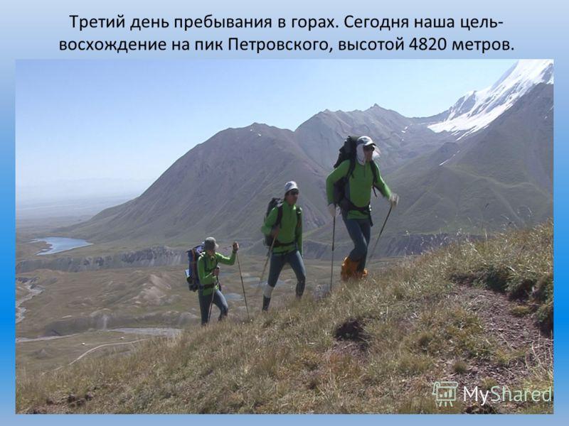 Третий день пребывания в горах. Сегодня наша цель- восхождение на пик Петровского, высотой 4820 метров.