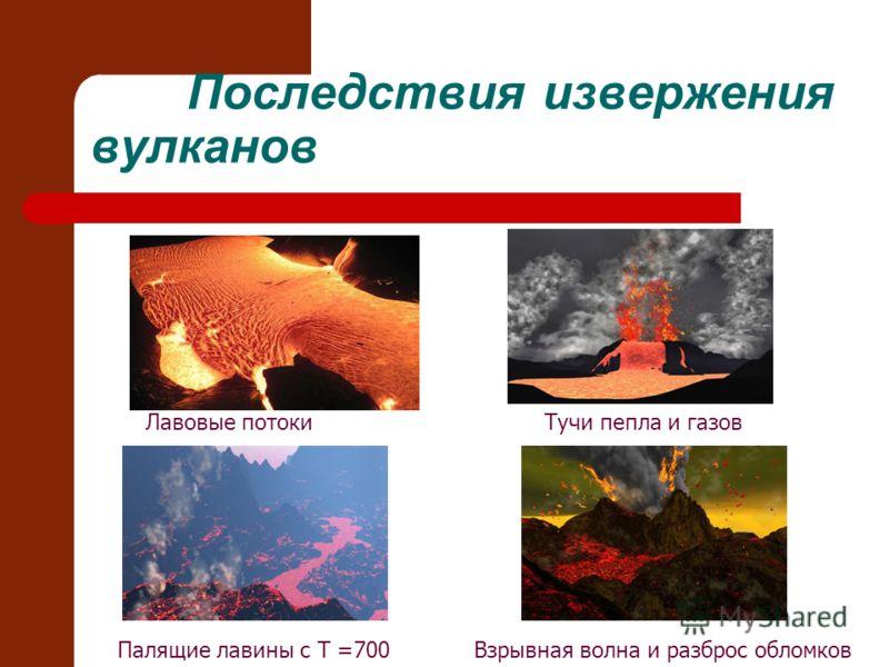 Последствия извержения вулканов Лавовые потокиТучи пепла и газов Взрывная волна и разброс обломковПалящие лавины с T =700