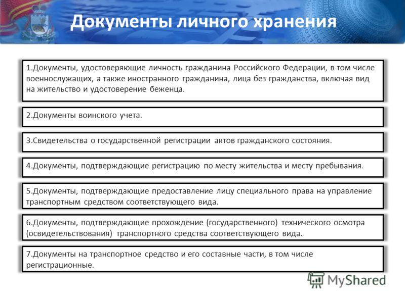 1.Документы, удостоверяющие личность гражданина Российского Федерации, в том числе военнослужащих, а также иностранного гражданина, лица без гражданства, включая вид на жительство и удостоверение беженца. 2.Документы воинского учета. 3.Свидетельства