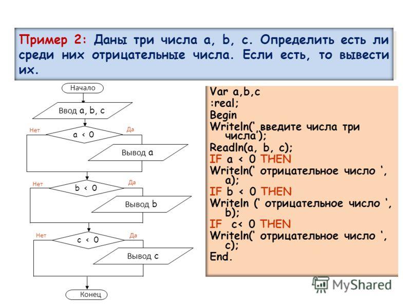 Пример 2: Даны три числа a, b, c. Определить есть ли среди них отрицательные числа. Если есть, то вывести их. Var a,b,c :real; Begin Writeln( введите числа три числа); Readln(a, b, c); IF a < 0 THEN Writeln( отрицательное число, a); IF b < 0 THEN Wri