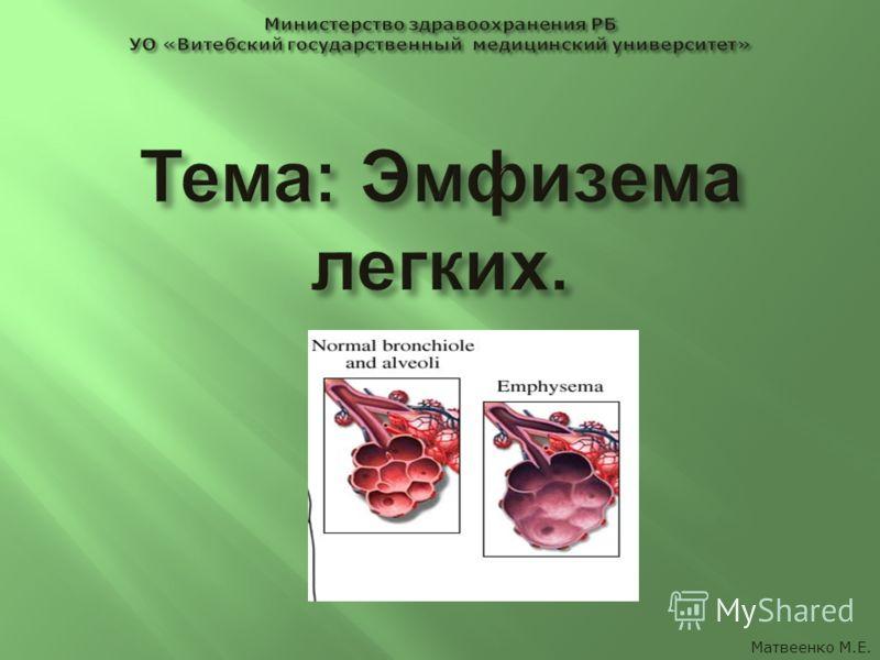 Матвеенко М.Е.