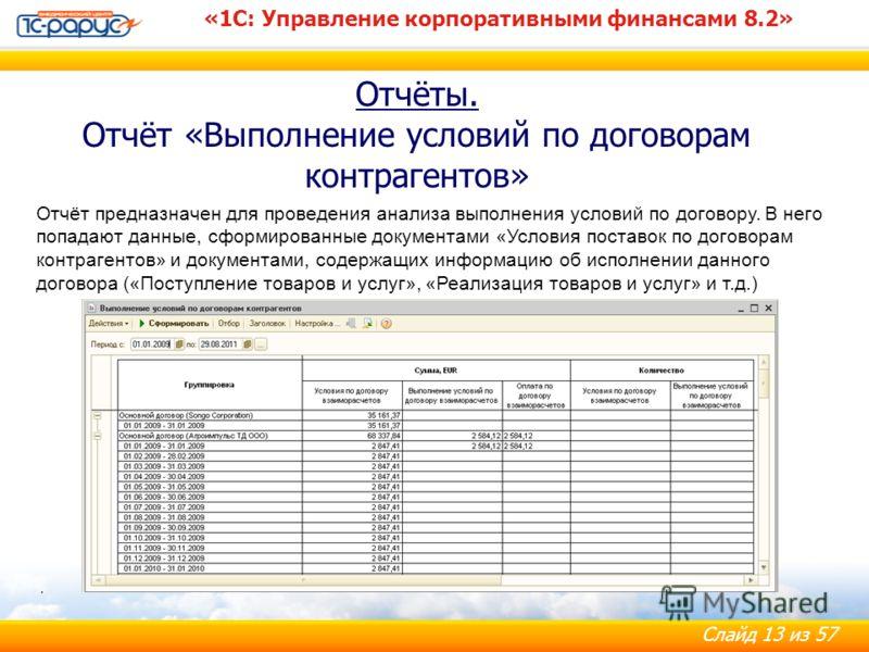 Слайд 13 из 57 Отчёты. Отчёт «Выполнение условий по договорам контрагентов» «1С: Управление корпоративными финансами 8.2». Отчёт предназначен для проведения анализа выполнения условий по договору. В него попадают данные, сформированные документами «У