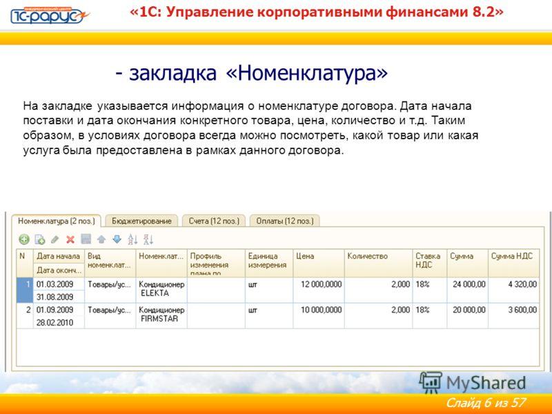 Слайд 6 из 57 - закладка «Номенклатура» «1С: Управление корпоративными финансами 8.2» На закладке указывается информация о номенклатуре договора. Дата начала поставки и дата окончания конкретного товара, цена, количество и т.д. Таким образом, в услов