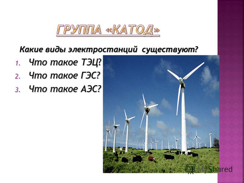 Какие виды электростанций существуют? 1. Что такое ТЭЦ? 2. Что такое ГЭС? 3. Что такое АЭС?