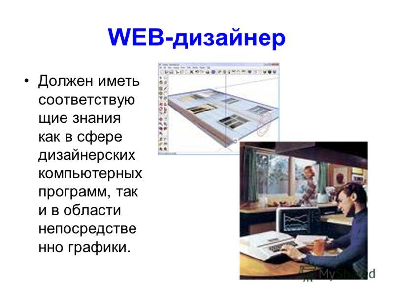 WEB-дизайнер Должен иметь соответствую щие знания как в сфере дизайнерских компьютерных программ, так и в области непосредстве нно графики.