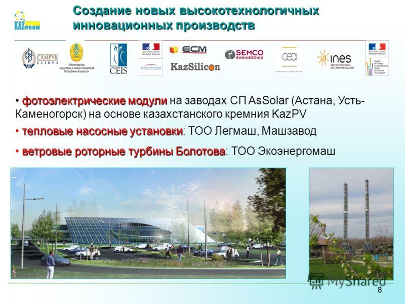 8 фотоэлектрические модули фотоэлектрические модули на заводах СП AsSolar (Астана, Усть- Каменогорск) на основе казахстанского кремния KazPV тепловые насосные установки тепловые насосные установки: ТОО Легмаш, Машзавод ветровые роторные турбины Болот