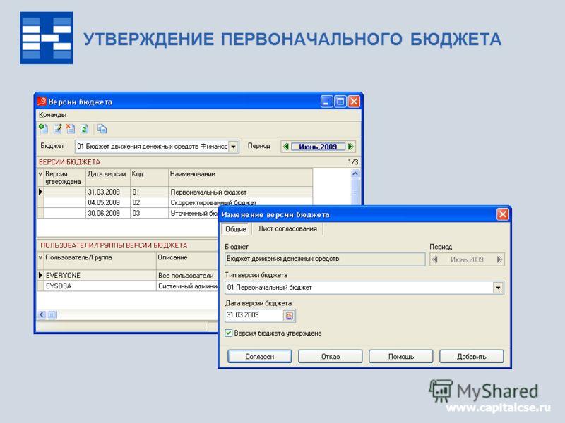 www.capitalcse.ru УТВЕРЖДЕНИЕ ПЕРВОНАЧАЛЬНОГО БЮДЖЕТА