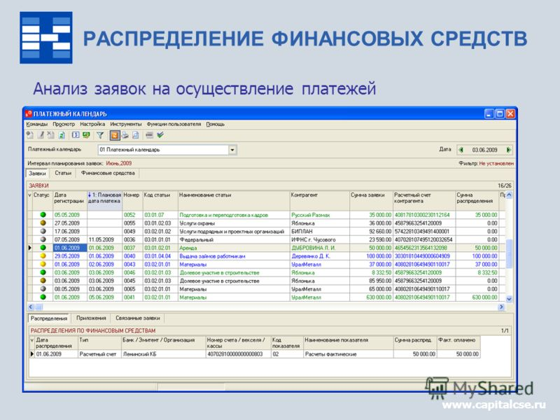 www.capitalcse.ru Анализ заявок на осуществление платежей www.capitalcse.ru РАСПРЕДЕЛЕНИЕ ФИНАНСОВЫХ СРЕДСТВ