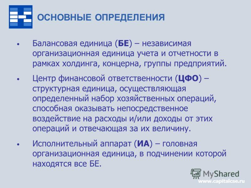 www.capitalcse.ru Балансовая единица (БЕ) – независимая организационная единица учета и отчетности в рамках холдинга, концерна, группы предприятий. Центр финансовой ответственности (ЦФО) – структурная единица, осуществляющая определенный набор хозяйс