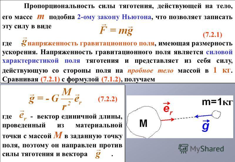 (7.2.2) где - вектор единичной длины, проведенный из материальной точки с массой M в заданную точку поля, поэтому он направлен против силы тяготения и вектора. (7.2.2) где - вектор единичной длины, проведенный из материальной точки с массой M в задан