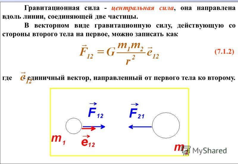 Гравитационная сила - центральная сила, она направлена вдоль линии, соединяющей две частицы. В векторном виде гравитационную силу, действующую со стороны второго тела на первое, можно записать как (7.1.2) где - единичный вектор, направленный от перво