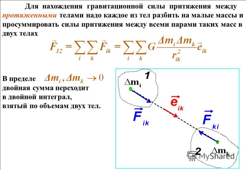 Для нахождения гравитационной силы притяжения между протяженными телами надо каждое из тел разбить на малые массы и просуммировать силы притяжения между всеми парами таких масс в двух телах В пределе двойная сумма переходит в двойной интеграл, взятый