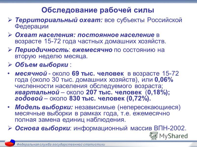 Федеральная служба государственной статистики Обследование рабочей силы Территориальный охват: все субъекты Российской Федерации Охват населения: постоянное население в возрасте 15-72 года частных домашних хозяйств. Периодичность: ежемесячно по состо