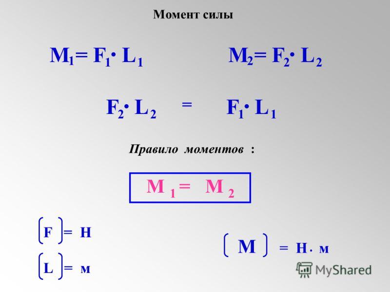 M = F L. 1 11. 2 22 F L. 22. 11 = М = М 12 Правило моментов : F = H L = м М = Н м. Момент силы