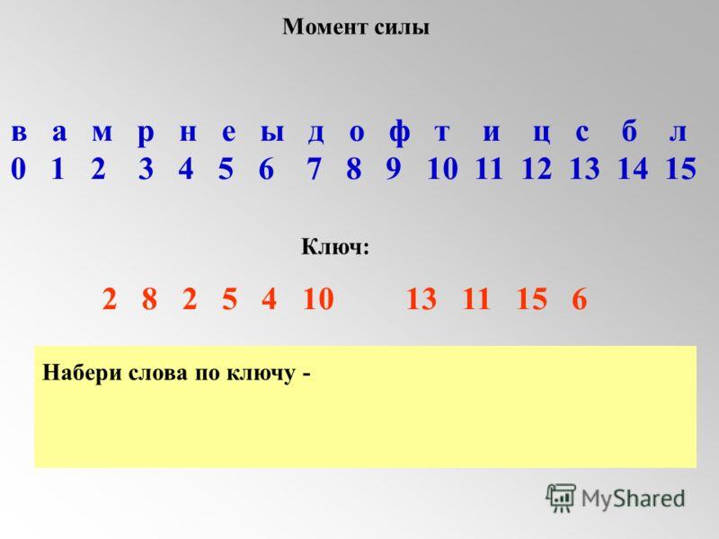 Набери слова по ключу - в а м р н е ы д о ф т и ц с б л 0 1 2 3 4 5 6 7 8 9 10 11 12 13 14 15 Ключ: 2 8 2 5 4 10 13 11 15 6 Момент силы