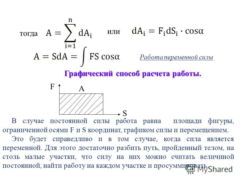 Графический способ расчета работы. В случае постоянной силы работа равна площади фигуры, ограниченной осями F и S координат, графиком силы и перемещением. Это будет справедливо и в том случае, когда сила является переменной. Для этого достаточно разб