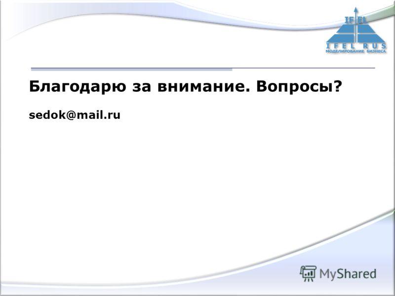 Благодарю за внимание. Вопросы? sedok@mail.ru