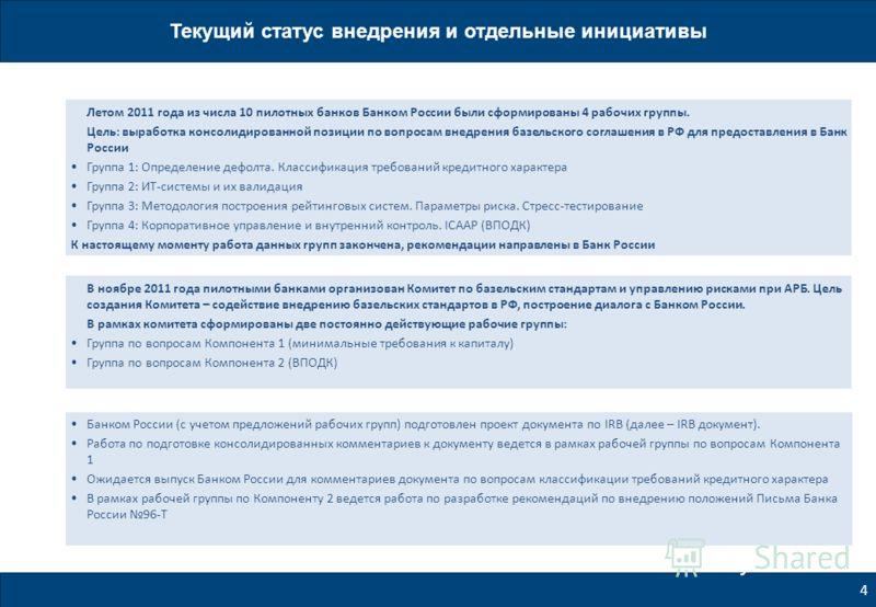 Банком России (с учетом предложений рабочих групп) подготовлен проект документа по IRB (далее – IRB документ). Работа по подготовке консолидированных комментариев к документу ведется в рамках рабочей группы по вопросам Компонента 1 Ожидается выпуск Б