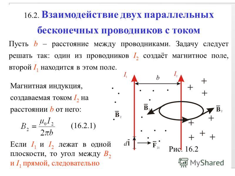 16.2. Взаимодействие двух параллельных бесконечных проводников с током Пусть b – расстояние между проводниками. Задачу следует решать так: один из проводников I 2 создаёт магнитное поле, второй I 1 находится в этом поле. Рис. 16.2 Магнитная индукция,