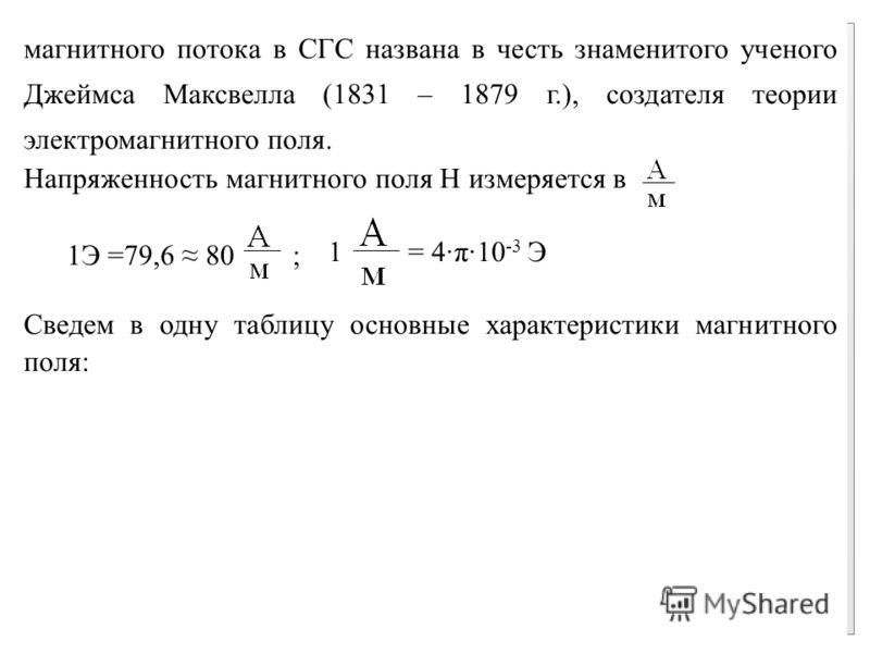 магнитного потока в СГС названа в честь знаменитого ученого Джеймса Максвелла (1831 – 1879 г.), создателя теории электромагнитного поля. Напряженность магнитного поля Н измеряется в 1 = 4·π·10 -3 Э Сведем в одну таблицу основные характеристики магнит