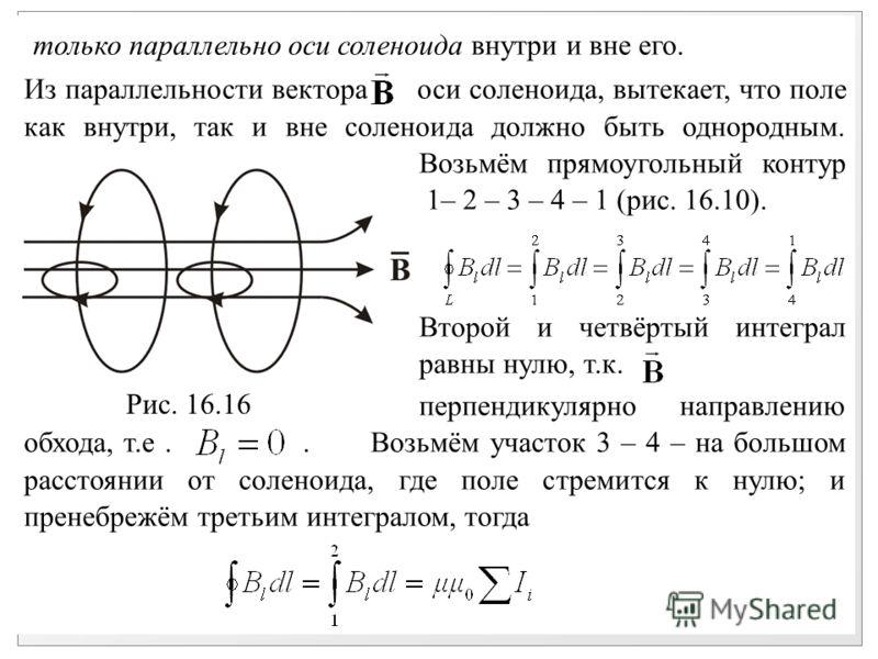 только параллельно оси соленоида внутри и вне его. Из параллельности вектора оси соленоида, вытекает, что поле как внутри, так и вне соленоида должно быть однородным. Возьмём прямоугольный контур 1– 2 – 3 – 4 – 1 (рис. 16.10). Второй и четвёртый инте