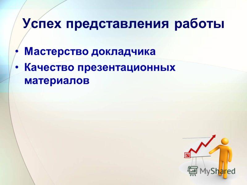 Успех представления работы Мастерство докладчика Качество презентационных материалов