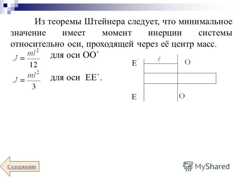 Из теоремы Штейнера следует, что минимальное значение имеет момент инерции системы относительно оси, проходящей через её центр масс. для оси ОО` для оси ЕЕ`. Содержание