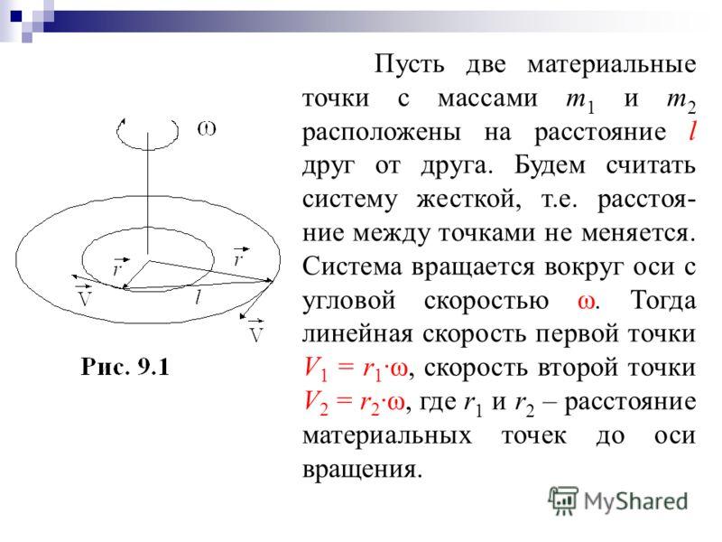 Пусть две материальные точки с массами m 1 и m 2 расположены на расстояние l друг от друга. Будем считать систему жесткой, т.е. расстоя- ние между точками не меняется. Система вращается вокруг оси с угловой скоростью ω. Тогда линейная скорость первой